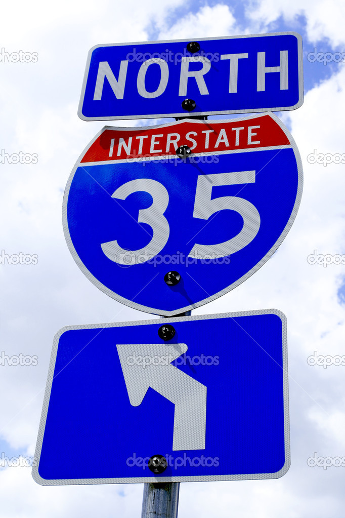 A highway 35 road sign in Texas. — Stock Photo #1388494