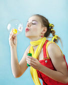 Beautiful girl and bubble — Stock Photo