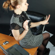 Girl-secretary is in an office - 图库照片