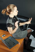 Girl-secretary is in an office — Stock Photo