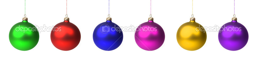 Christmas decoration - different colored baubles hanging in a row, isolated on white. — Stock Photo #1308384
