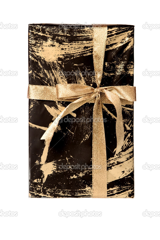 Wrapped gift box tied with golden ribbon, isolated on white. — Stock Photo #1418666