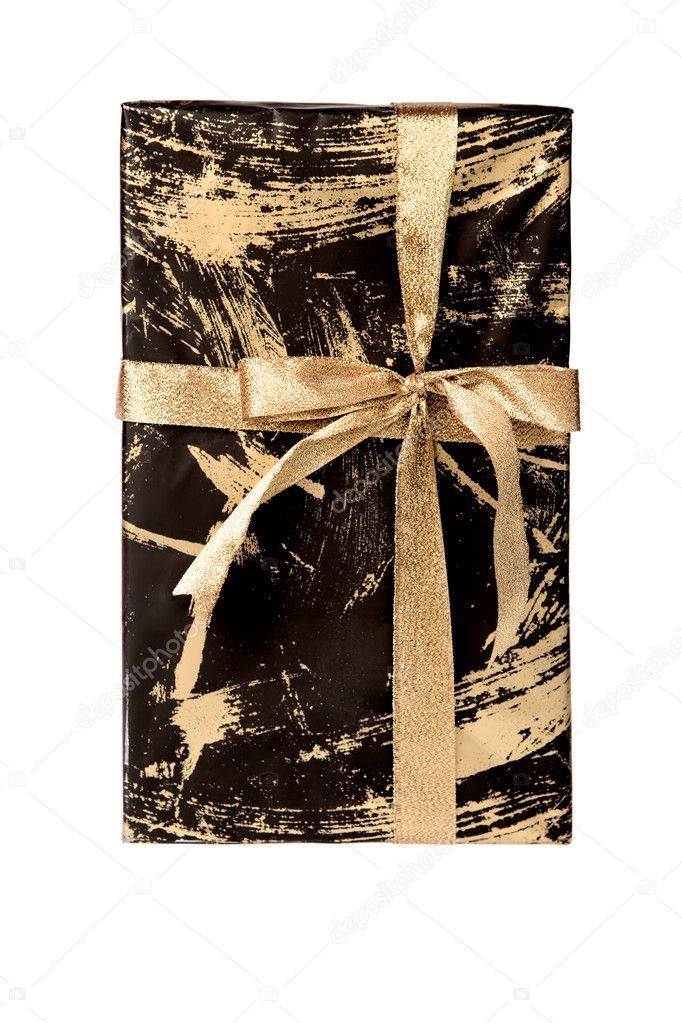 Wrapped gift box tied with golden ribbon, isolated on white. — Stockfoto #1418666