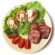 Royalty-Free Stock Photo: Pork, stuffed eggs, tomatoes and lettuce