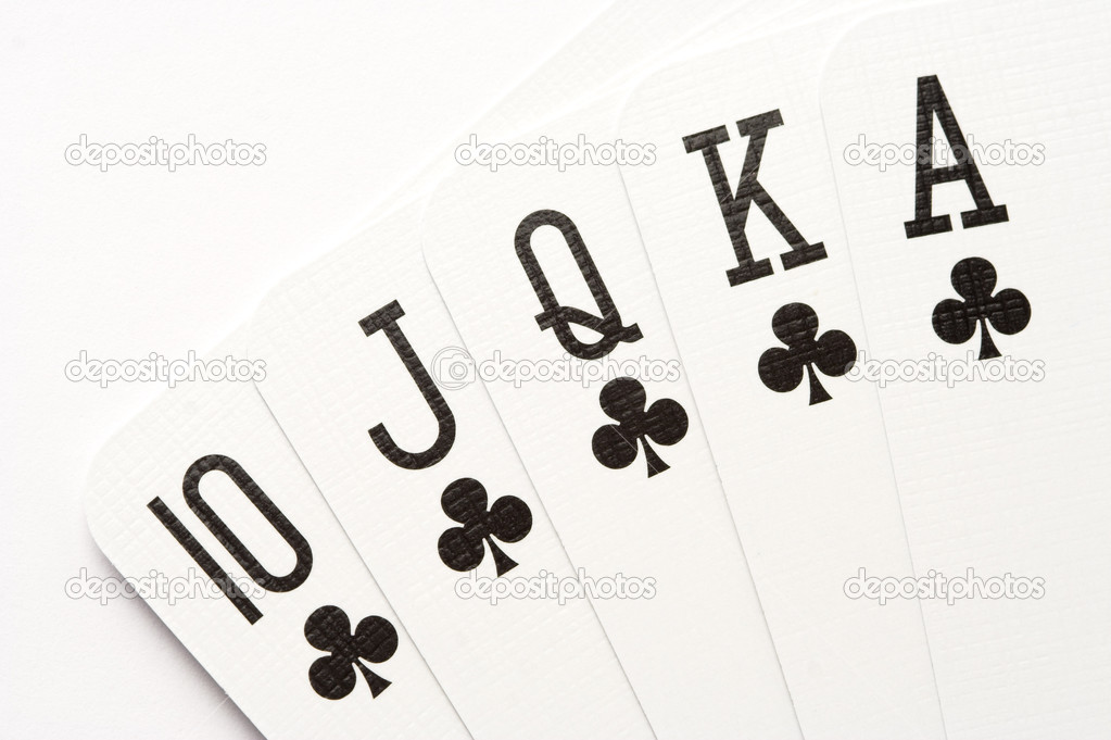 Poker combination - royal flush on clubs.  Stock Photo #1423172