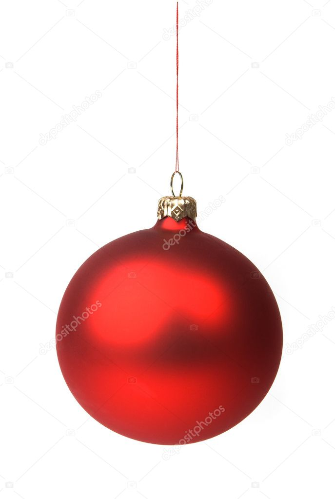 Red Christmas bauble hanging on a string, isolated on white. — Lizenzfreies Foto #1423562