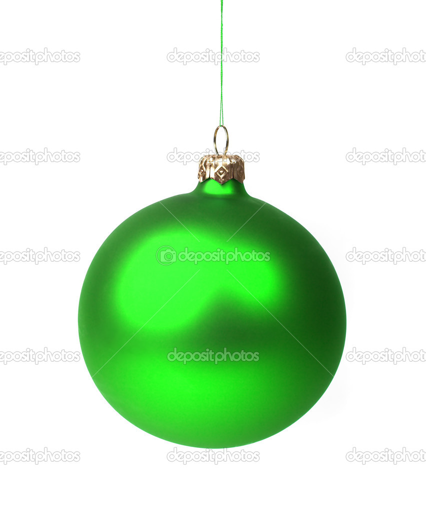 Christmas decoration - green bauble hanging, isolated on white. — Stock Photo #1434447