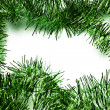 Green tinsel frame - Stock Photo