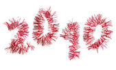 Red tinsel 2010 — Stock Photo