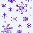 Set of different snowflakes - Stok Vektör