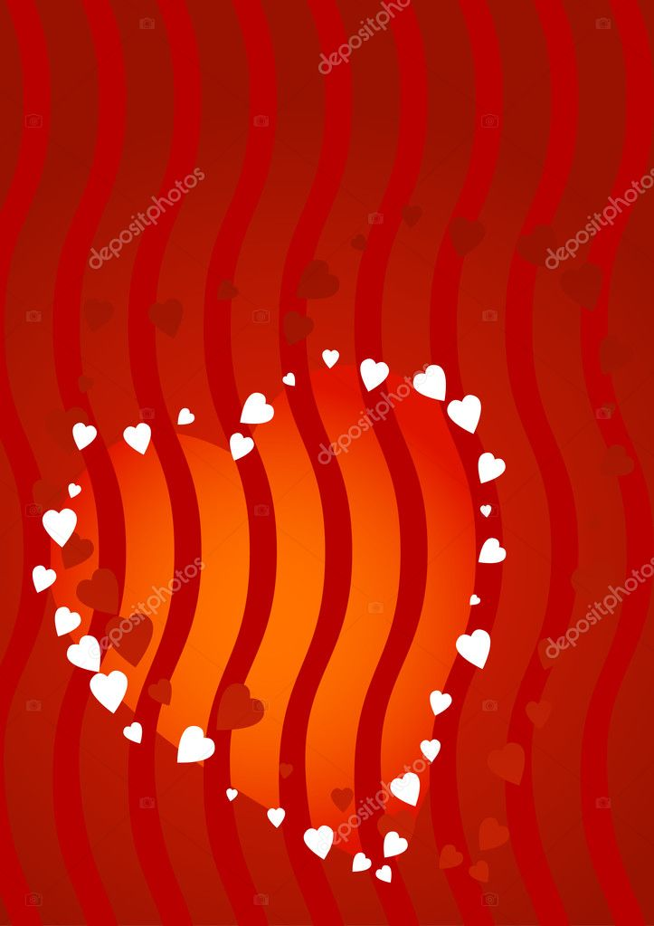 Red hearts and waves background for Valentine's Day — Stock Vector #1605496