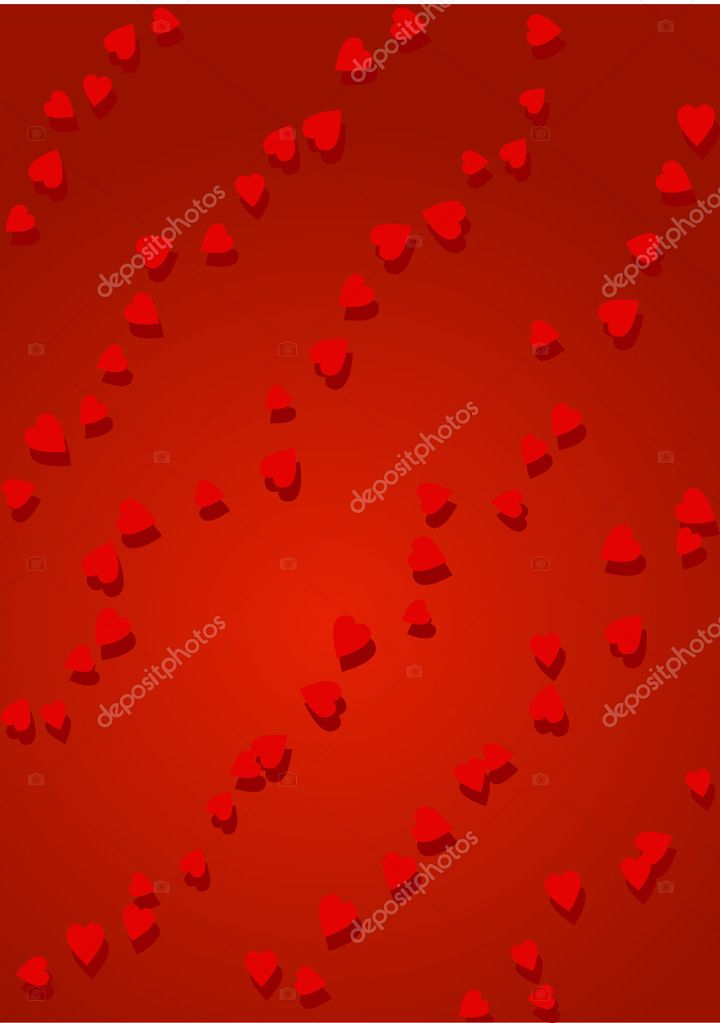Diagonal rows of little red hearts on red background  Stock Vector #1605513