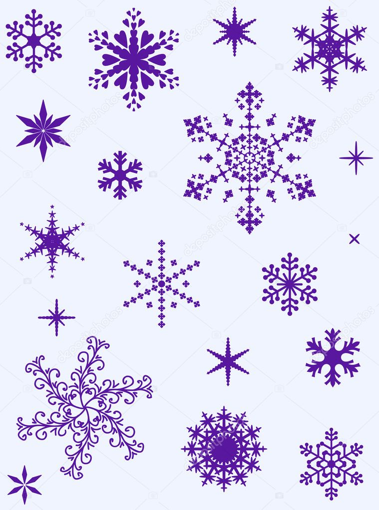 Set of different vector snowflakes for christmas design — Stock Vector #1606322