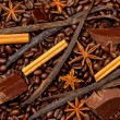 Coffee, chocolate and sweet spices — Stock Photo