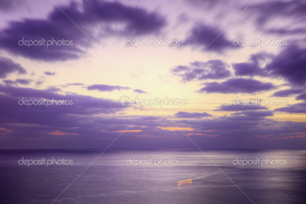 Purple dusk sea and a ship trace. Long exposure. — Stock Photo #2545623
