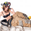 Stock Photo: Sexy Female Firefighter