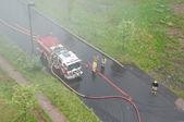 Fire Trucks in Smoke — Stock Photo