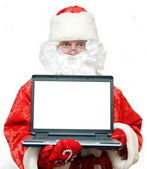 Santa Claus portrait with a notebook. — Stock Photo