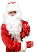 Santa, wskazując na baner — Zdjęcie stockowe