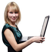 Girl with a laptop isolated — Stock Photo