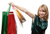 Shopping women smiling. Isolated over — Stock Photo