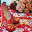 Stock Photo: Chinese bridal shoes