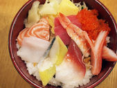 Japanese style sashimi rice bowl — Stock Photo