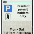 Stock Photo: Resident Parking Sign