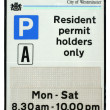 Stock Photo: Resident Parking Permit Sign