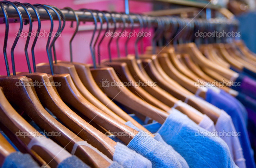 Clothes rail with shallow depth of field. — Stock Photo #1515435