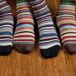His and hers striped socks - Stock Photo