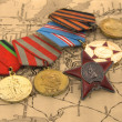 Medals on a map — Stock Photo