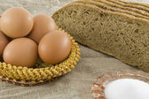 Many fresh rural eggs — Stock Photo
