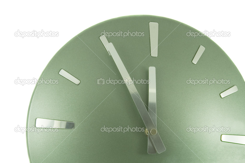 Clock (5 minutes to 12) over white — Stock Photo #1385749