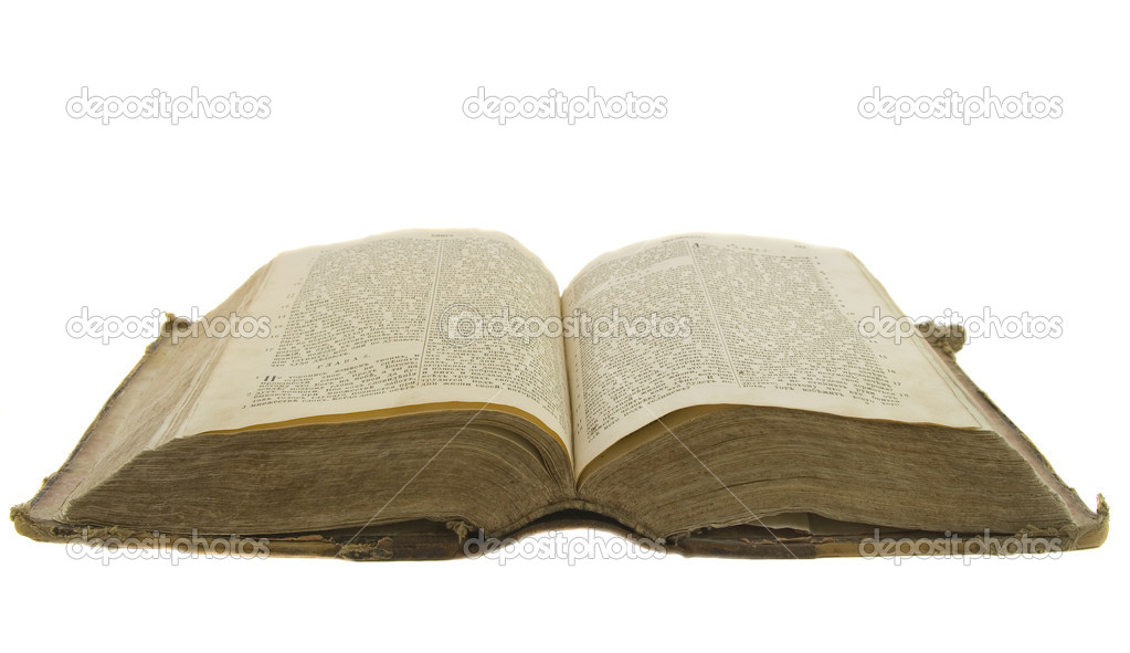 Vintage old book bible open for reading isolated on white — Stock Photo #1386982