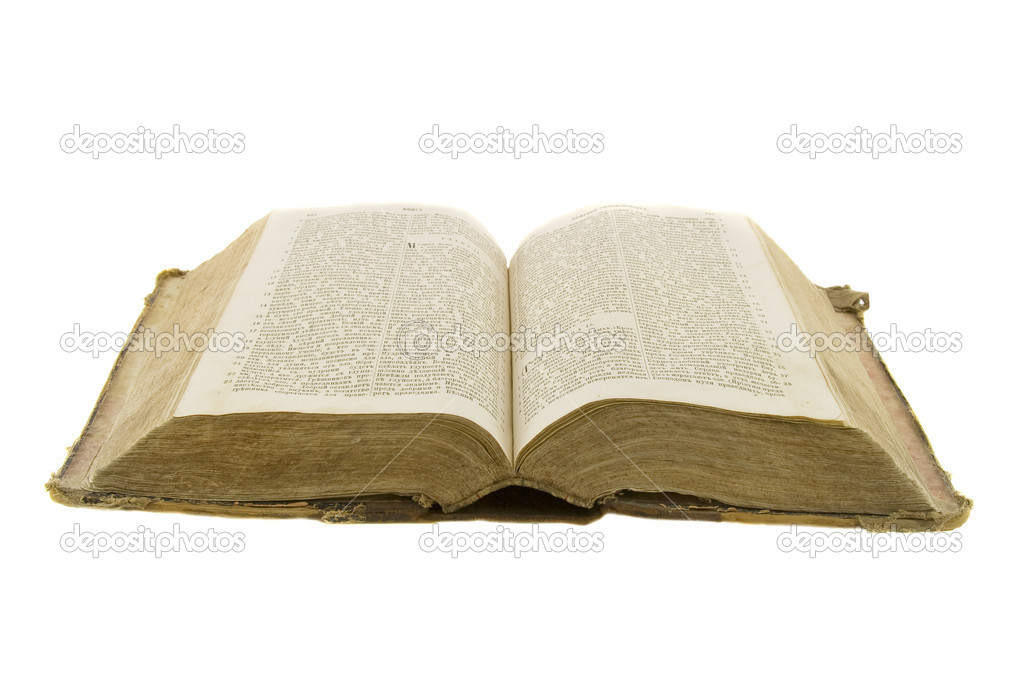 Vintage open book bible open for reading isolated on white — Stock Photo #1387154