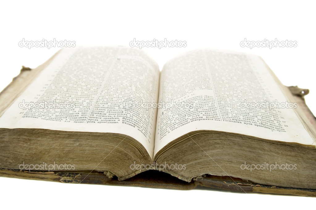 Vintage old book bible open for reading isolated on white — Stock Photo #1387166