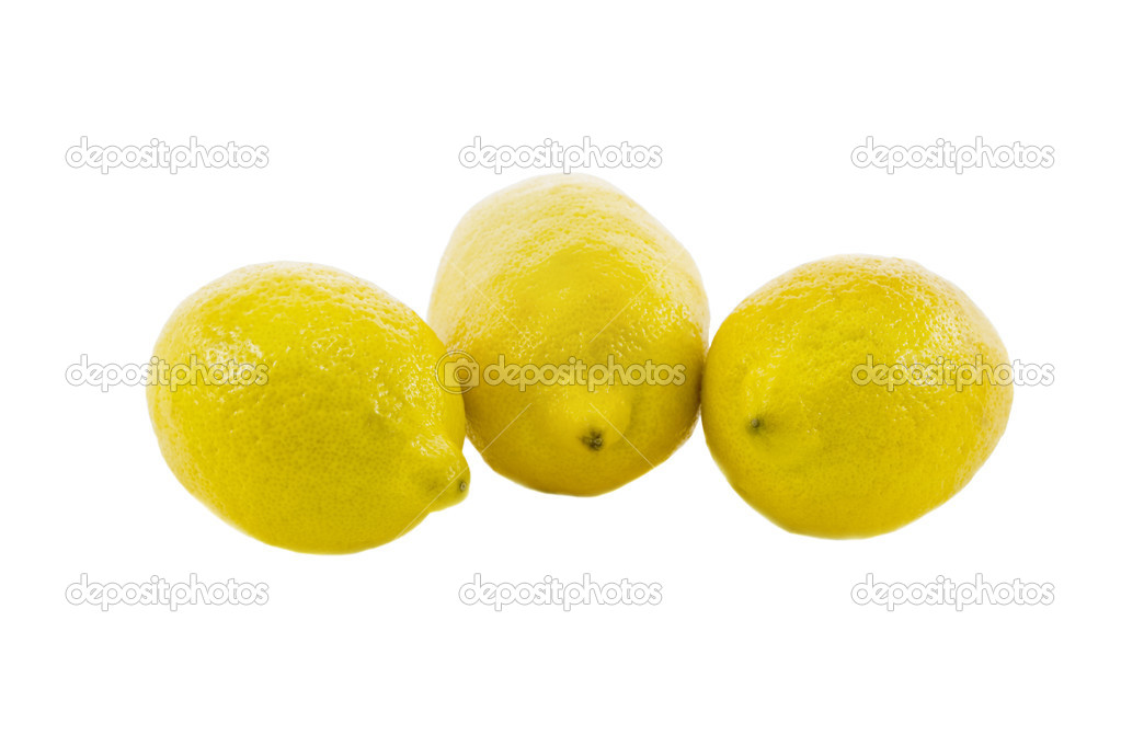 Three fresh yellow lemon isolated over white background — Stock Photo #1387299