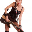 Pretty young woman with the guitar — Stock Photo