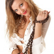 Pretty woman with chains — Stock Photo