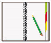 Diary with the pencil — Stock Vector