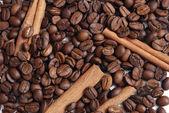 Coffee-beans&cinnamon — Stock Photo
