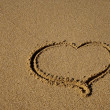 Drawn in the sand heart - the beach — Stock Photo