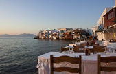 Restaurant by the sea at Mykonos — Stock Photo