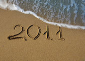 2011 - The inscription on the sand — Stock Photo
