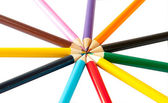 Colored pencils on a white background — Stockfoto