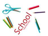 Lápis, tesoura, contando com varas — Fotografia Stock