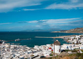 Top view of the port of Mykonos Island — Stock Photo