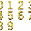 Set 3D golden digit in alloy with silver - Stock Photo