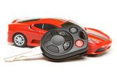 体育汽车模型与键 — 图库照片